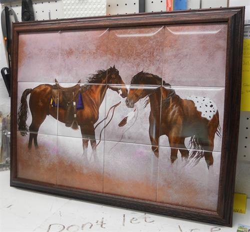 Ceramic Tile Framed Horses