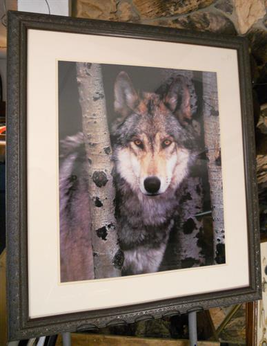 Wolf with Simple Mat & Frame