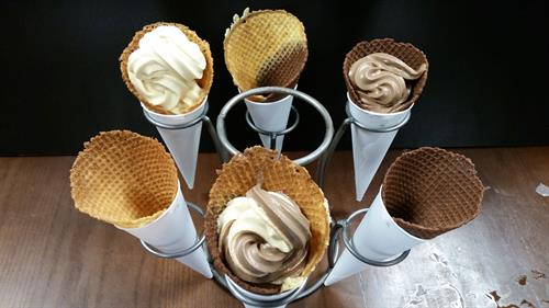 Made from scratch soft serve ice cream and waffle cones!