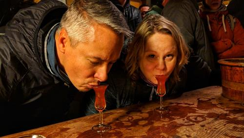 "Amsterdam - ""Tasting is done in the old fashioned way of bowing to the drink and slurping the first sip from a traditional tulip glass. Cheers!"" — at Wynand Fockink Tastingroom, Distillery & Liqueur store."