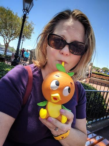 My new favorite water bottle, JK! The Orange Bird Sipper Cup — filled with Orange Cream Slushy, available at the 2019 Epcot International Flower and Garden Festival