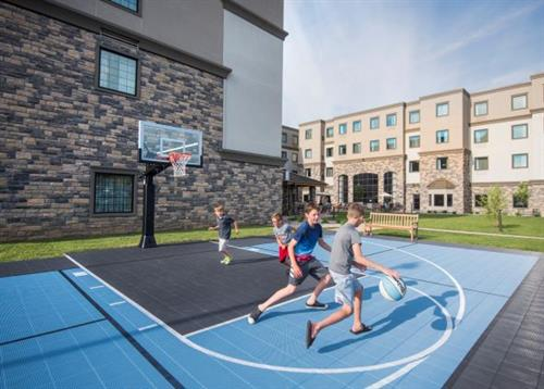 The basketball court in the Courtyard