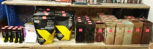 We have Orano Gold coffees, hot coco, shakes & supplements.
