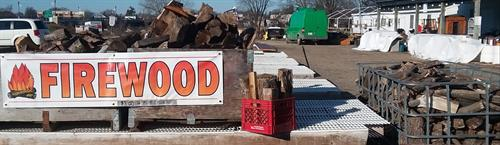 Firewood, fill a milk crate full for $3.00 (milk crate not included).