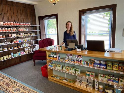 Michelle Konkle, owner, behind the counter at Chi Health Herbs and Natural Wellness