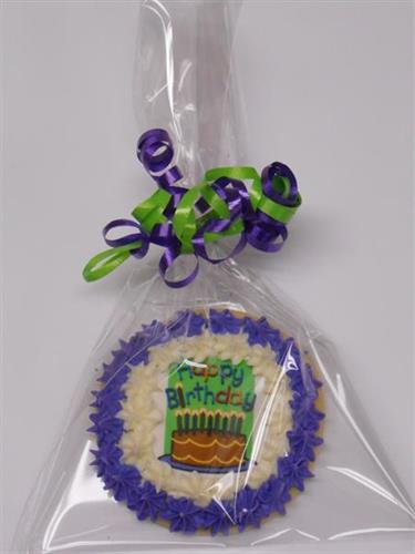 individually wrapped b-day cookie