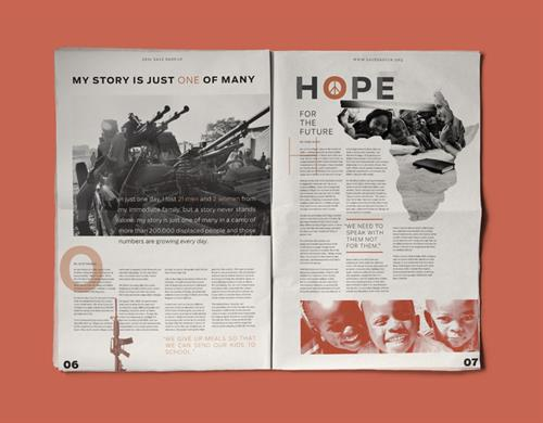 Newsletter design and info-graphic for Save Darfur