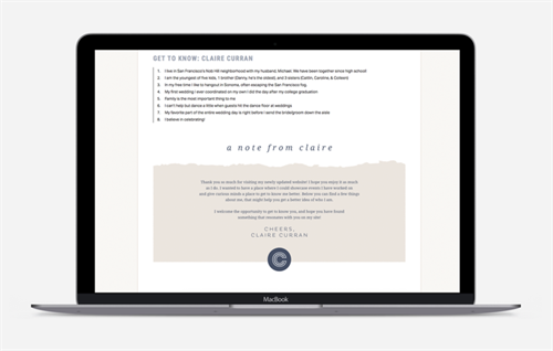 Web design for Claire Curran Events