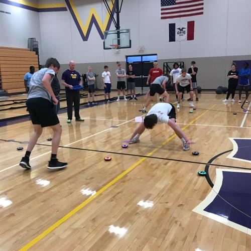 High school students try out the Fitlight system during P.E. class