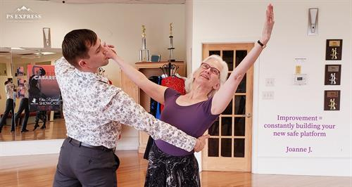 Calin & Joanne dancing at a showcase