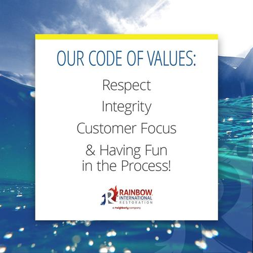 Rainbow International of Westerville Code of Ethics