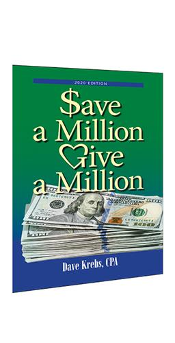 "2020 financial advice book by Dave Krebs, ""Save A Million, Give a Million."""