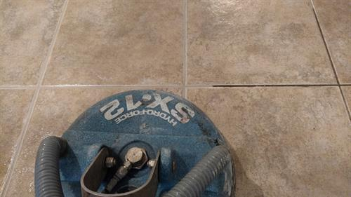 Our process removes all of that ground in dirt deep in the grout