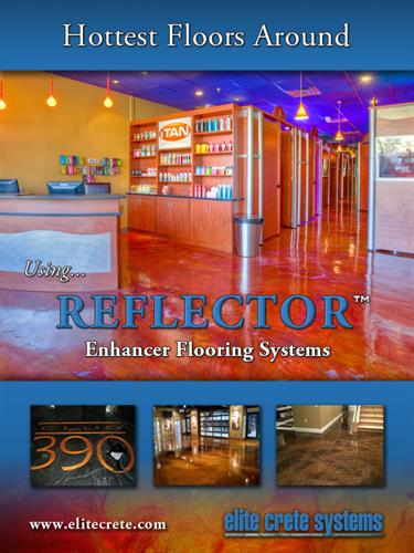 Epoxy coatings from solid colors or reflector enhancer, including quartz and flake options.