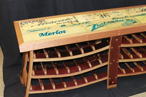 Reclaimed Grape Box Top Wine Bench