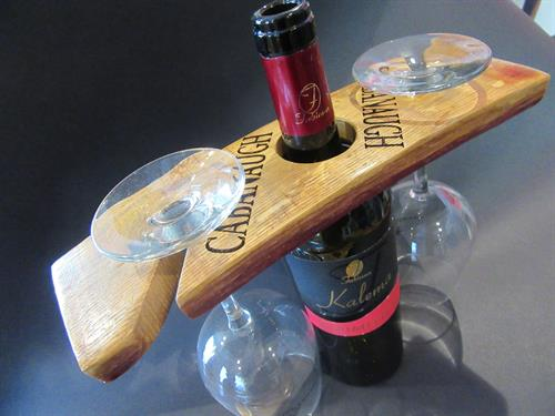 Wine Barrel Stave Wine Bottle Glass Holder