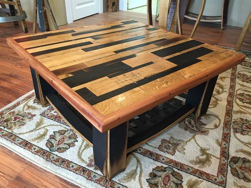 Whiskey Barrel Stave Coffee Table