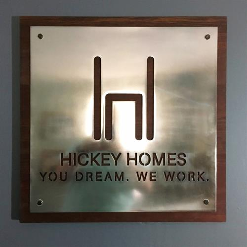 Hickey Homes - Plasma-Cut Steel on Wood Sign