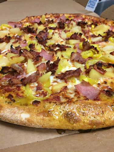Ham Bacon PineApple Banana Peppers 100% Mozzarella Cheese