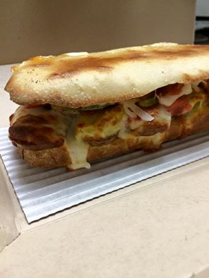 Italian sausage and peppers Owen baked sandwich — at Dominos Pizza.