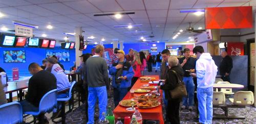 Corporate holiday party with nearly 150 people.  We can accomodate all your needs whether your party is large or small. Full service catering available from pizza to prime rib.