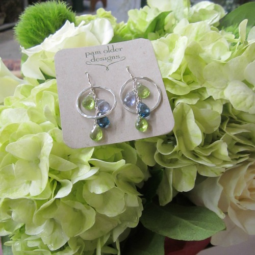 Green hydrangea and Pam Older Earrings make a spectacular gift. Newburyport Florist