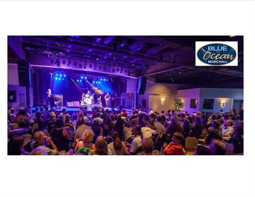Panoramic View Inside Blue Ocean Music Hall with Surf Rocker Donavon Frankenreiter on Stage