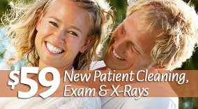 FREE Exam & X-Rays! And a $59 new patient cleaning! (Prov. no periodontal disease)