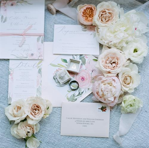 Custom floral wedding invitation suite