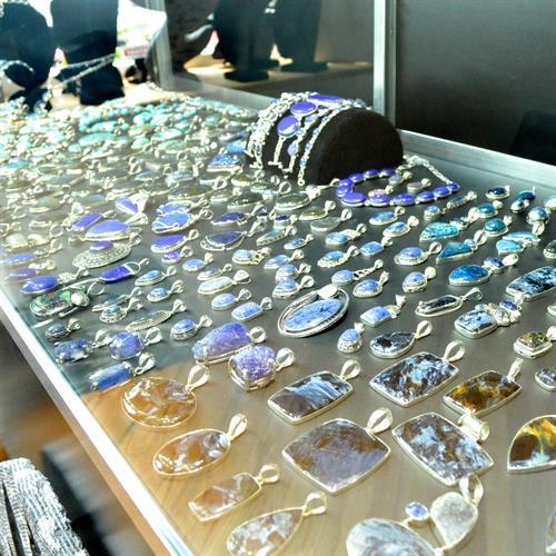 Blue handmade stone pendants