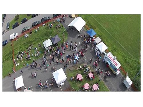 Aerial photo of Metzy's Food Truck at local Reggae Festival