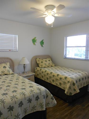 The beds in the twin bedroom each have a new boxspring & mattress