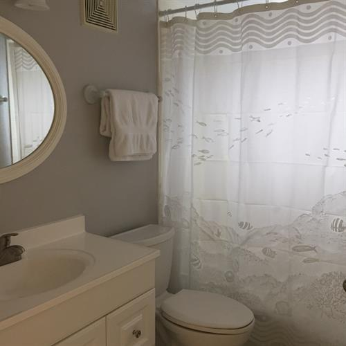 The guest bath has new faucet, high rise toilet, towel bars, light & wall storage
