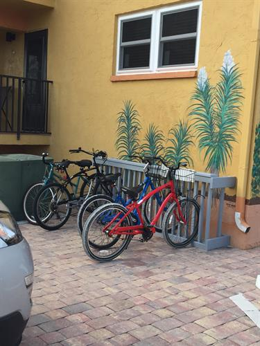 Bicycle racks were recently added for guest convenience.
