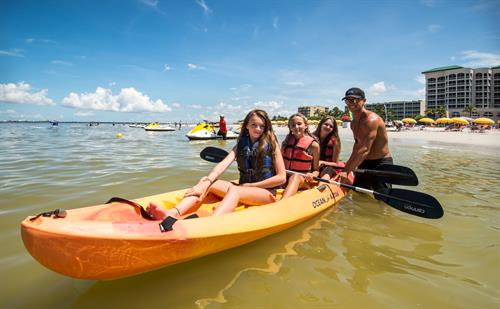 Kayaks are available for 1/2 hour and hourly rentals