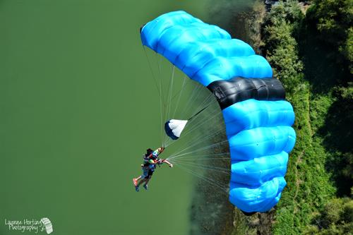 The Parachute ride during a Tandem BASE jump in Twin Falls, ID