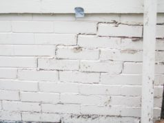 Crack in exterior wall.