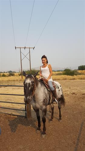 Julie riding Navaho, 1st lesson