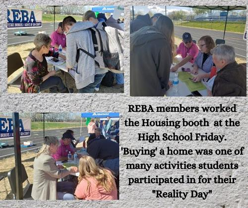 """REBA members helping high school students """"buy"""" a home as part of their Reality Day"""