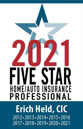 2021 Five Star Award Home/Auto Insurance Agent - 10  Year Winner