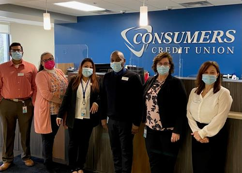 Photo featuring Consumers Credit Union employees from the Palatine Branch