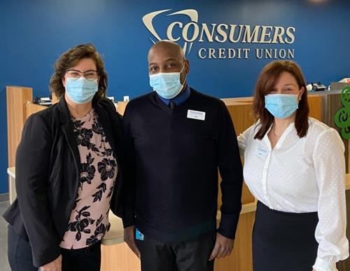 Photo featuring Palatine Branch Member Experience Assistant Manager, Sharon Nooncaster, Member Experience Manager Phillip Wilburn, and Senior Banker