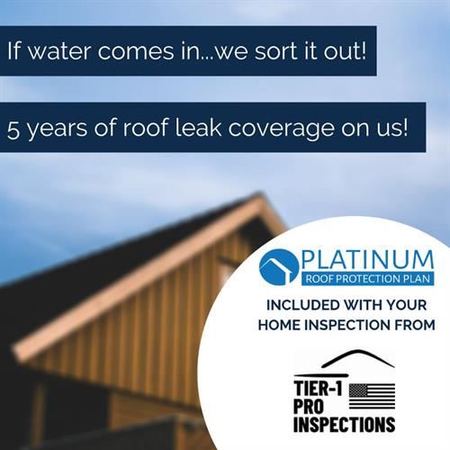 5yr Roof Leak Warranty Included w/ Every Home Inspection