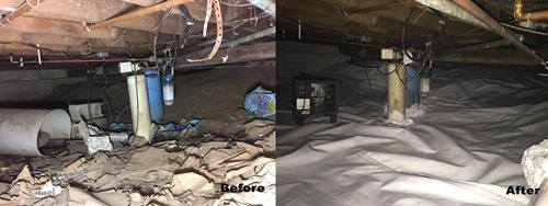 Encapsulated Crawl Space Before and After.