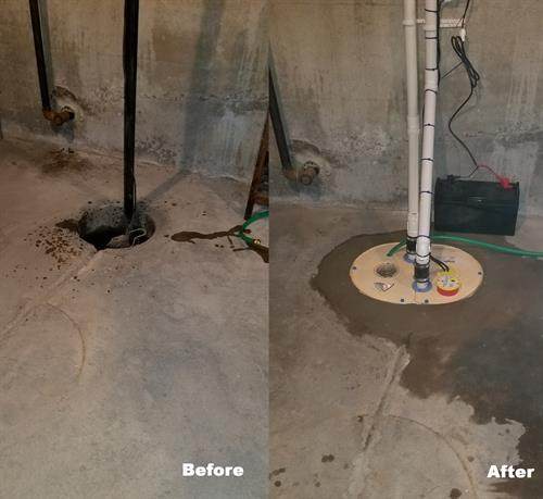 Sump Pump Before and After