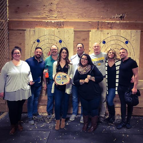 ONE SOURCE employee event at Blue Ox Axe Throwing in Wallingford, CT