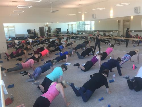 Full house on opening day in Studio 1! How many push-ups do we do in class? You'll have to find out! We'll get you in the best form so you might surprise yourself ;).