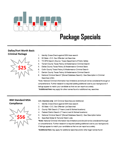 Current Package Pricing Specials Including DFW $25 Criminal Reports