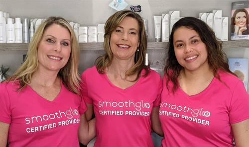 Amy; aesthetician, Dr. Lori; medical director, Samantha; aesthetician