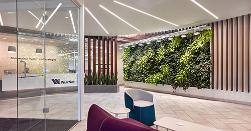 WiscNet's new world headquarters, located in Madison's University Research Park, was designed to be both attractive and functional.